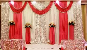 3M6M Ice Silk Milk White Wedding Backdrop Curtains Gold Swag With Silver Sequin Fabric