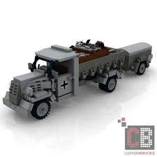 100 Bricks Truck Sales CUSTOM PDF Instructions WW2 WWII TRUCK OPEL BLITZ With Trailer For