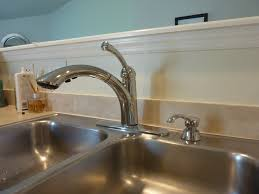 Pull Down Kitchen Faucets Moen by Decorating Wall Mounted Lowes Kitchen Faucets In Brushed Nickel