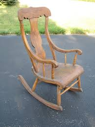 Antique Farmhouse Wooden Wood Rocking Chair Rocker With Urn Back ...