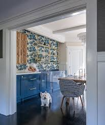 Blue Built In Dining Room Cabinets With Brass Hardware