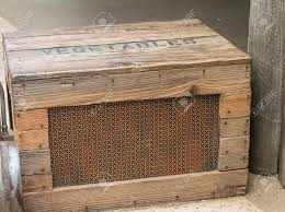 Old Fashioned Wooden Crate With Mesh Front Side Used For