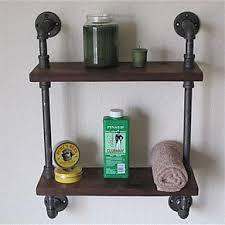 YROAR Vintage Wrought Iron Pipe Double Tier Metal Bathroom Shelf Para Banheiro Bath Shelves Accessories