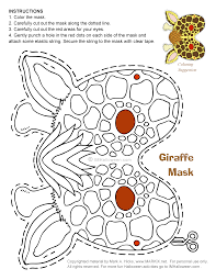 Halloween Giraffe Mask To Print And Color