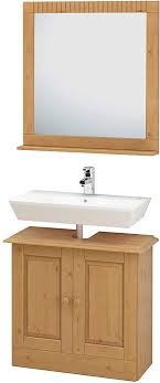 loft24 cheryl 2 tlg badmöbel set spiegel mit ablage waschbeckenunterschrank unterschrank badezimmerschrank kiefer massiv gebeizt geölt