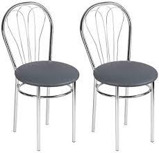 bsd moderner design kunstleder esszimmer stuhl esszimmerstühle 2er set esszimmerstuhl mit metallbeinen venus chrom farbe grau c 2er set