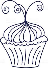 Fancy Cupcake With Curly Swirls Blue Outline Isolated on White royalty free stock vector art