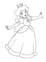 Beautiful Princess Peach Coloring Page 15 In Free Colouring Pages With