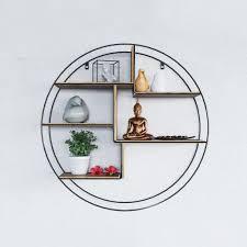 laxllent wandregal aus holz metall wandregal rund φ60x15cm schwarz schweberegal für küche wohn schlaf badezimmer