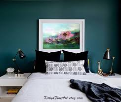 sommer landschaft abstrakte kunst erröten rosa und petrol schlafzimmer wand kunst leinwand druck floral über dem bett dekor kopfteil kunstdrucke auf
