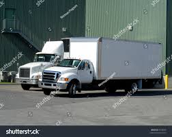 100 Delivery Trucks Two White Backed Warehouse Stock Photo Edit Now