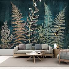 custom mural wallpaper golden lines plant leaves fresco