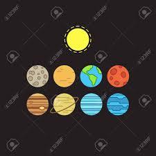 Set Symbolic Stylized Icons Solar System Planets And Sun