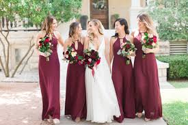 Maroon Colored Bridesmaids Dresses For Summer Wedding With Pink Champagne Paper