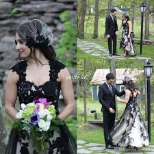 discount modest black and white wedding dresses short front long