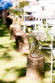 Vintage Outdoor Wedding Isle Decorations The Logs And Jars Of Flowers