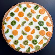 geometric sweet tart with kiwi berries and