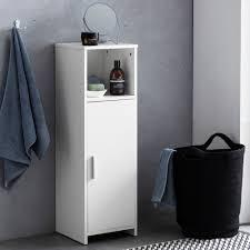 finebuy badschrank 30 x 95 5 x 30 cm weiß holz mit tür und ablagefach kleiner bad schrank beistellschrank stehend badregal schmal freistehend