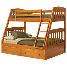 varnished wooden oak bunk bed with two drawers using green bed