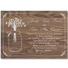 Cheap Rustic Mason Jars Wood Wedding Invitations EWI245