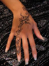 Gorgeous Henna Swirl Flower Hand Tattoo Strass Stones