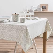 nappe en coton beige motifs jacquard 150x250 nouvelles maisons
