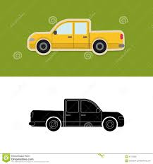 Pickup Truck Icon And Silhouette Stock Vector - Illustration Of ...