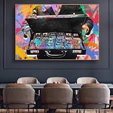 geldkoffer graffiti style wandbild wohnzimmer dekoration