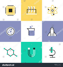 Flat Line Icons Science Experiment Research Stock Vector