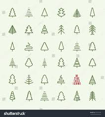 Christmas Tree Recycling Nyc by Thin Line Pine Tree Icon Set Stock Vector 332137799 Shutterstock