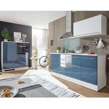 küchenblock jazz blau hochglanz weiß matt 320 cm