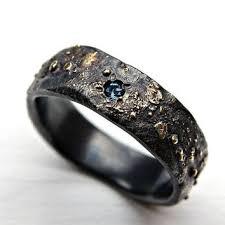Mens Wedding Ring Celtic Gem Engagement Gold Silver Viking Band Rustic