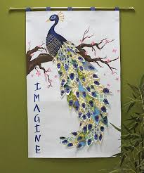 Oriental Peacock On Cherry Tree Wall Hanging