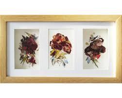 Wall Art Frame Set Of 3 Artworks Floral Triptych 3d Artwork Rose Botanical Piece Decor Framed