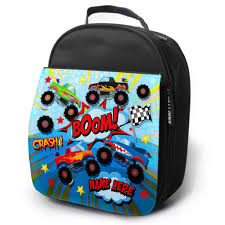 100 Monster Truck Backpack Personalised Lunch Bag MONSTER TRUCK Insulated School Boys Snack Box