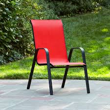 Stackable Outdoor Sling Chairs by Essential Garden Bartlett Solid Red Stack Chair Kmart