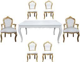 casa padrino barock esszimmer set weiß gold esstisch 6 stühle