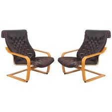 Equipale Chairs Los Angeles by Pair Of Original Poem Chairs In Tufted Black Leather By Noboru