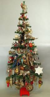 German Feather Tree Decorated With Antique Ornaments