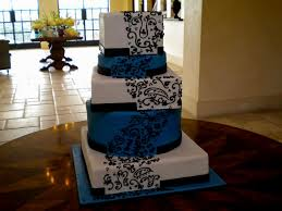 black and blue wedding cakes design