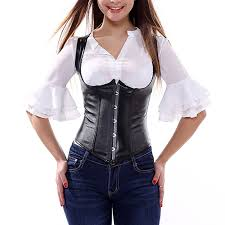 amazon com muka black punk underbust corset pu leather plus size