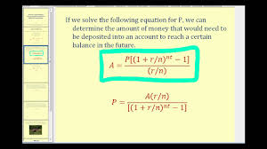 Sinking Fund Annuity Calculator by Determine The Required Savings To Reach A Financial Goal Youtube
