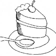 Eating Cake Slice with Spoon Coloring Pages