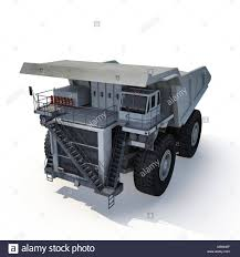 Large Haul Truck Ready For Big Job In A Mine. On White. 3D Stock ...