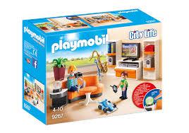 playmobil 9267 wohnzimmer city puppenhaus einrichtung modern mit led licht