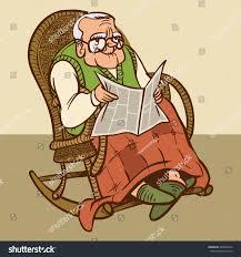 Funny Vector Cartoon Grandfather Reading Newspaper Stock Vector ...