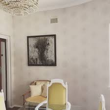 Dining Room With Nairobi Dusk Wallpaper By Porters Paints Modern Art And Classic Scandinavian Chairs Traditional Mix