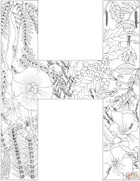 H Coloring Page Letter With Plants Free Printable Pages Gallery Ideas