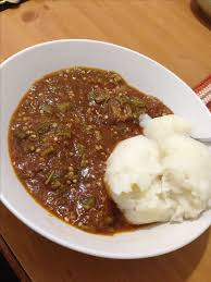 Nigerian Okra Soup Fufu Pounded Yam