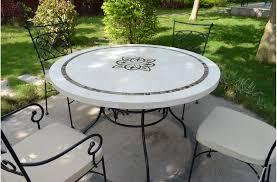 table ronde mosaique fer forge marbella table ronde 125cm en mosaïque emperador et travertin